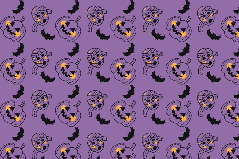 TenStickers. halloween mummies bats and cupkins Halloween table mats. other colored vinyl placemat featured with different scary mummies, bats and pumpkins on a violet background. Easy to clean.