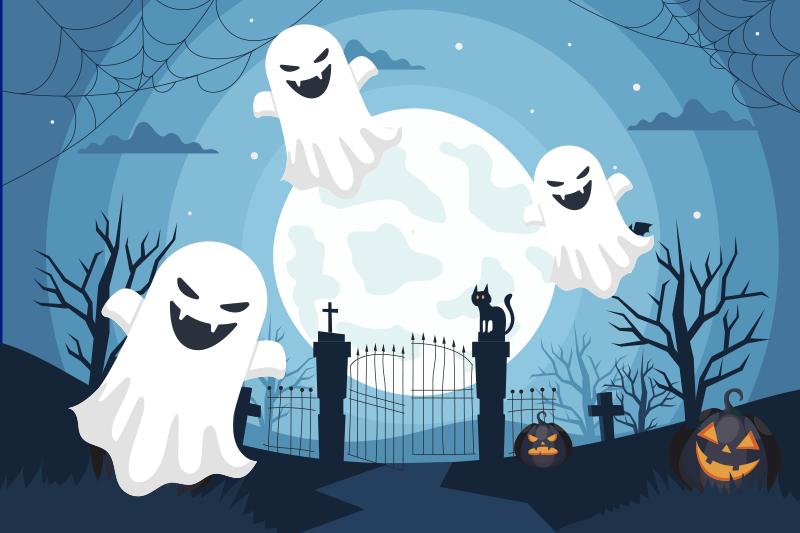 TenStickers. set de table avec rectangle Fantômes effrayants. Cette conception étonnante de set de table d'halloween comporte un cimetière semblant effrayant la nuit avec des arbres et des citrouilles effrayants. sticker anti-bulles.