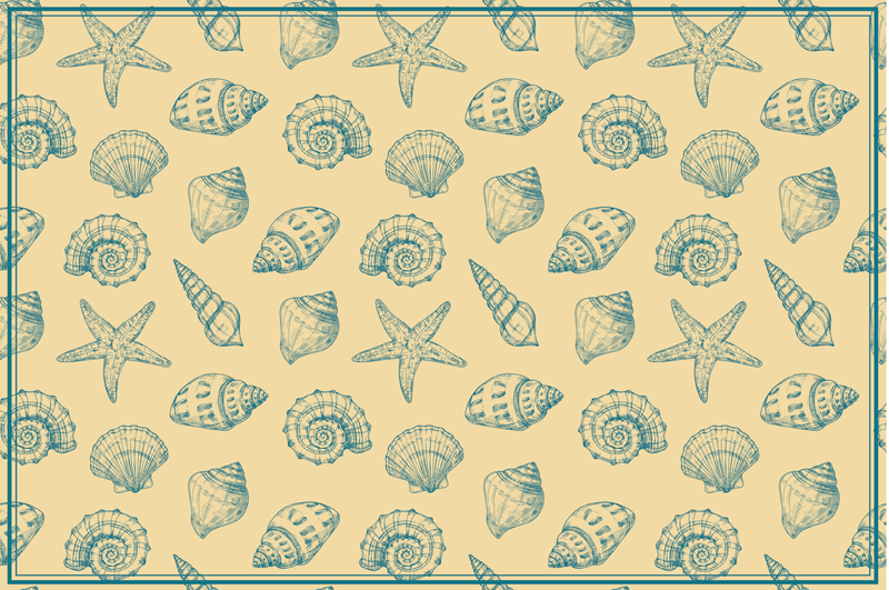 TenStickers. Hand draw seashells and starfish shell placemats. Beige placemat with seashells. It will serve well as a decoration for your kitchen. Made of high quality vinyl and easy to clean.