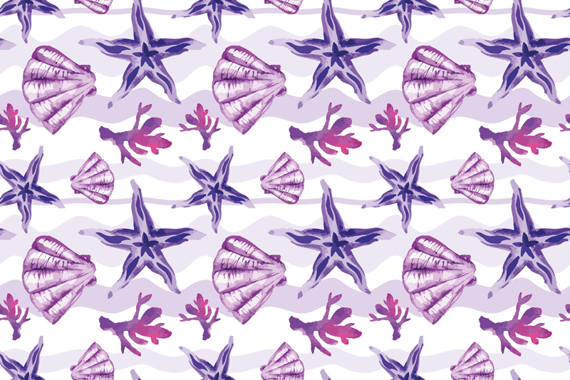 Tenstickers. Lilla skjell- og sjøstjerneskallmatriser. Trendy placemat med skjell med design av forskjellige lilla skjell på hvit bakgrunn. Laget vårt materiale av høy kvalitet.