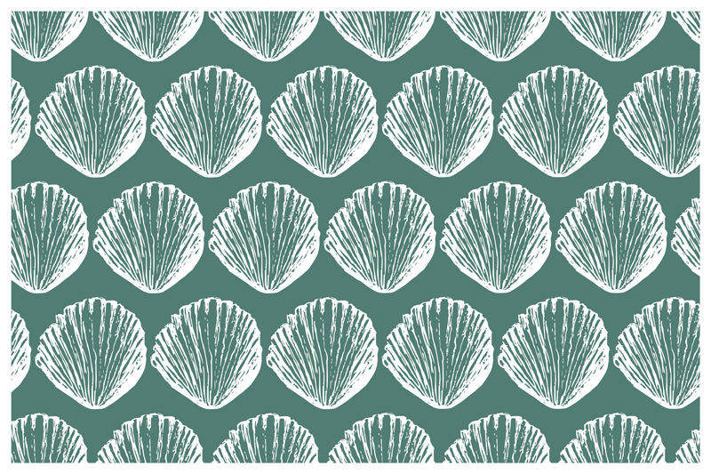 TenStickers. Retro Seashell Pattern shell placemats. A simple placemat with seashells for a dinning space. It is made from high quality material. It is very durable and long lasting.