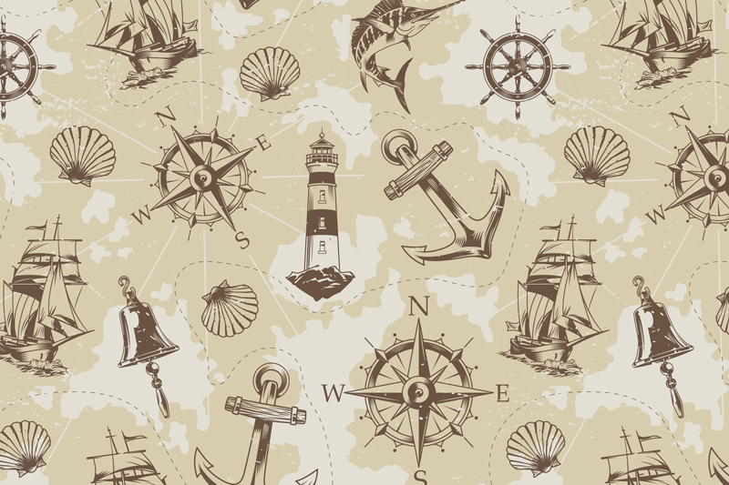 TenStickers. sea objects  shell placemats. Nautical shell placemat created with compasses, anchors, light house, sea animals and more. it is easy easy to use and to clean.