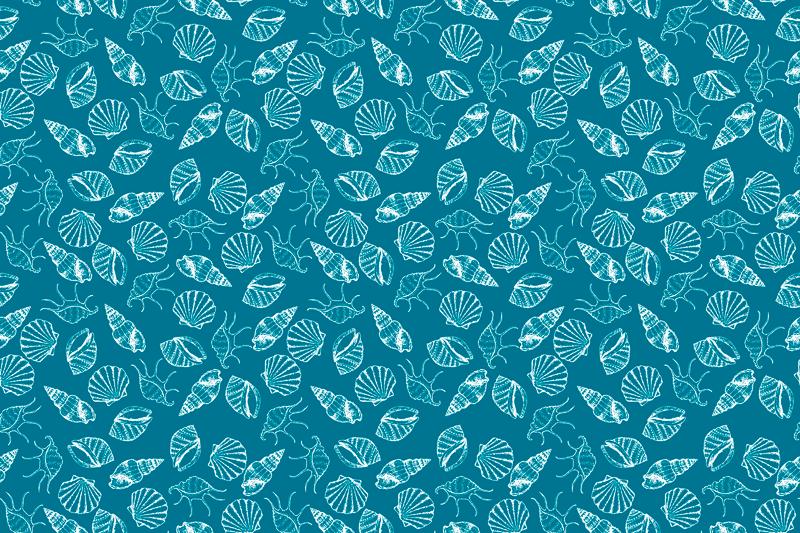 TenStickers. ζώα θαλασσινών κοχυλιών κοχύλι. σετ επιτραπέζιου για τους λάτρεις του τραπεζιού, περιέχει μπλε ζώα και λουλούδια. υψηλής ποιότητας αυτοκόλλητο πλακάτ κατάλληλο για κουζίνα
