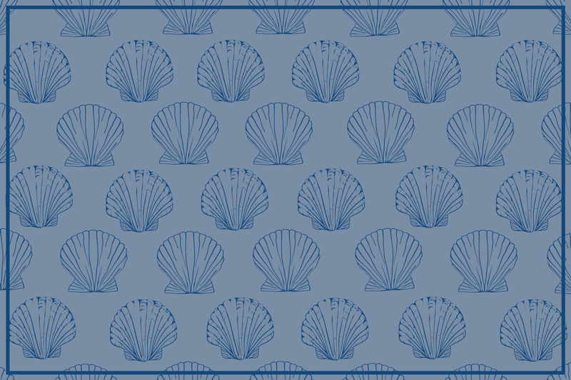 TenStickers. Seashell Blue Tones shell placemats. blue colored vinyl placemats with various seashell on the blue background. They are easy to clean and also very convenient to store.
