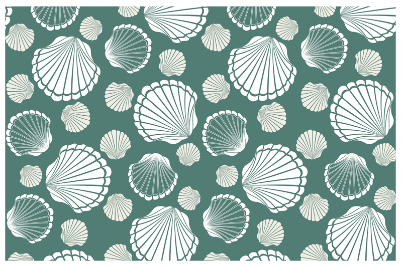 TenStickers. Seashell world shell placemats. A sticker green colored vinyl placemats with shell sticker printed in different colors, is made from high quality materials and it is easy to use