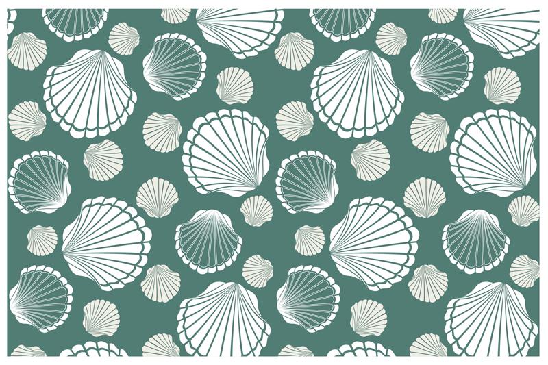 TenStickers. Muslingeskal verden shell dækkeservietter. Et klistermærke grønfarvede vinylplade med shell-klistermærke trykt i forskellige farver, er lavet af materialer af høj kvalitet og er let at bruge