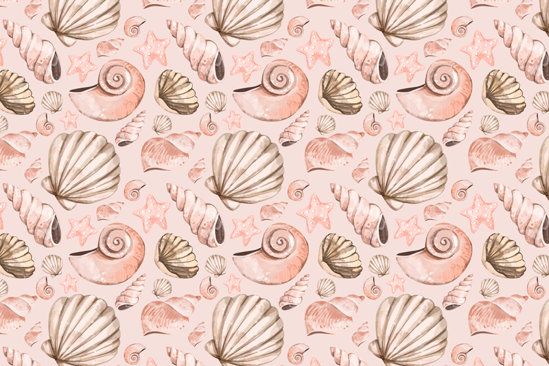 TenStickers. seashells shell placemats. Lovely colorful placemat with different seashells. The design is created in pink and grey texture and would cover any table space with attention.