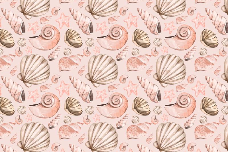TenStickers. školjke z lupinami. čudovit barvit pogrinjek z različnimi školjkami. Zasnova je ustvarjena v roza in sivi teksturi in bi s pozornostjo pokrivala vsak prostor na mizi.