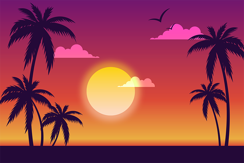 TenStickers. 70's Sunset 70's sun vinyl placemats. Placemat with palms and sunset, great solution if you want to decorate your kitchen. Made of high quality vinyl. 100% satisfaction.