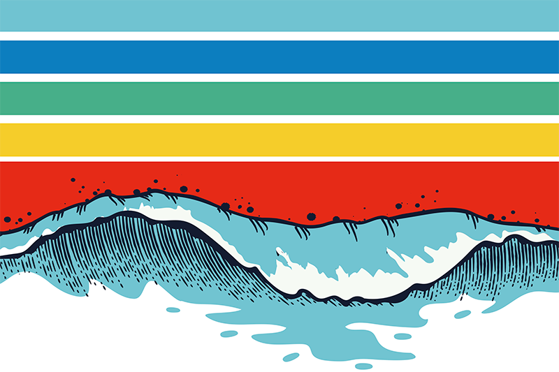 TenStickers. Retro waves 70's sun vinyl placemats. Colorful retro stripes and a beach wave placemat to decorate your dining table and protect it from any damage. Choose the set amount you prefer.