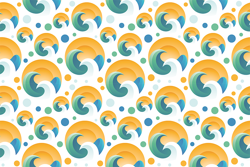 TenStickers. Sun and waves 70's sun vinyl placemats. An original and beautiful beach wave and the sun pattern placemats to make the eating time fun. Many pack choices available.
