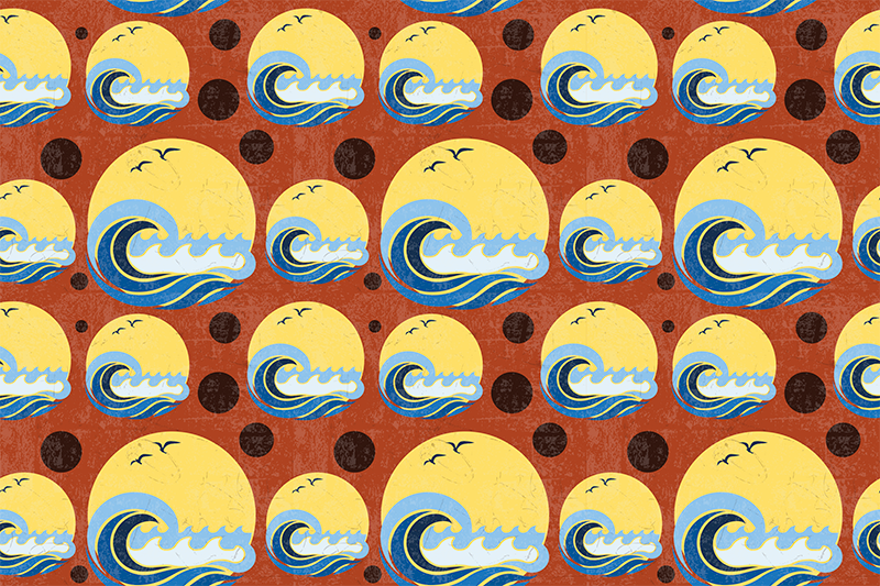 TenStickers. Sun, Beach and Wave pattern 70's sun vinyl placemats. A beach wave on sun placemat in circles on a dark background for all those beach lovers. High quality product delivered to your house!