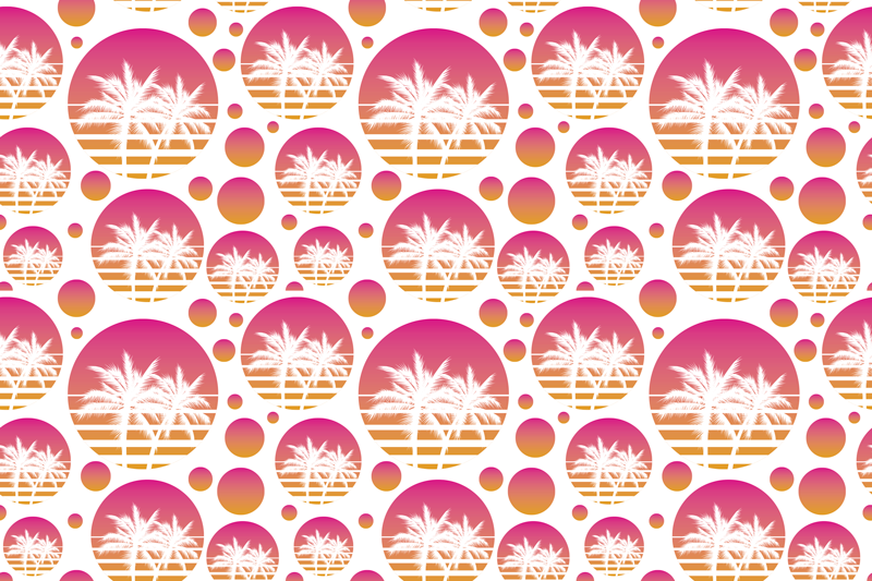TenStickers. 日落老式景观图案70年代乙烯基餐垫. 在白色背景上的圆形餐垫上装饰这棵棕榈树的餐桌的完美方法。送到您的前门!