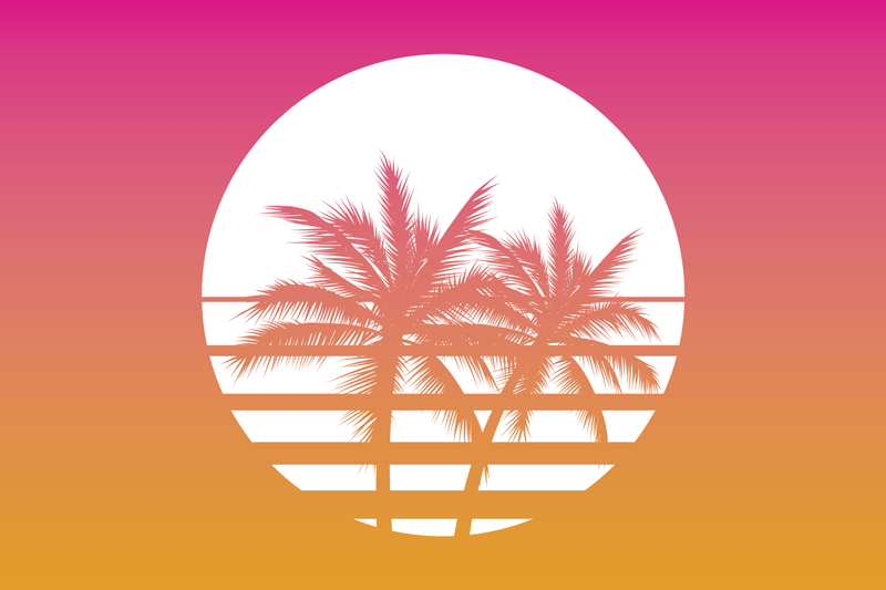 TenStickers. Sunset Vintage Landscape 70's sun vinyl placemats. The perfect way to decorate and protect your table with this palm trees on white circle placemat with a pink and orange background.