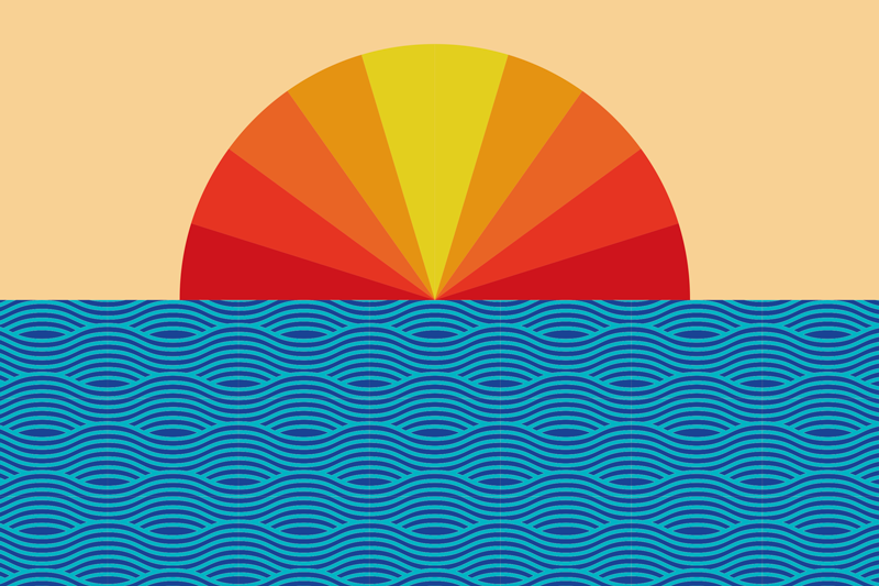 TenStickers. Vintage Sunset 70's sun vinyl placemats. A vintage sunset and sea placemat to give your dining table the best look and protection. High quality vinyl product delivered to your front door.