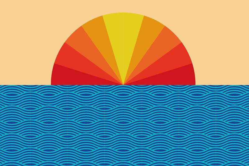 TenStickers. 复古日落70年代太阳乙烯基餐垫. 老式的日落和海上餐垫可为您的餐桌带来最佳外观和保护。高品质的乙烯基产品交付您的前门。