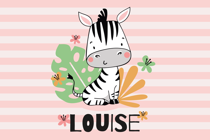 TenStickers. Zebra Personalised table mats. Personalised zebra placemat which  features an adorable image of a zebra with plants surrounding it and your child's name underneath.