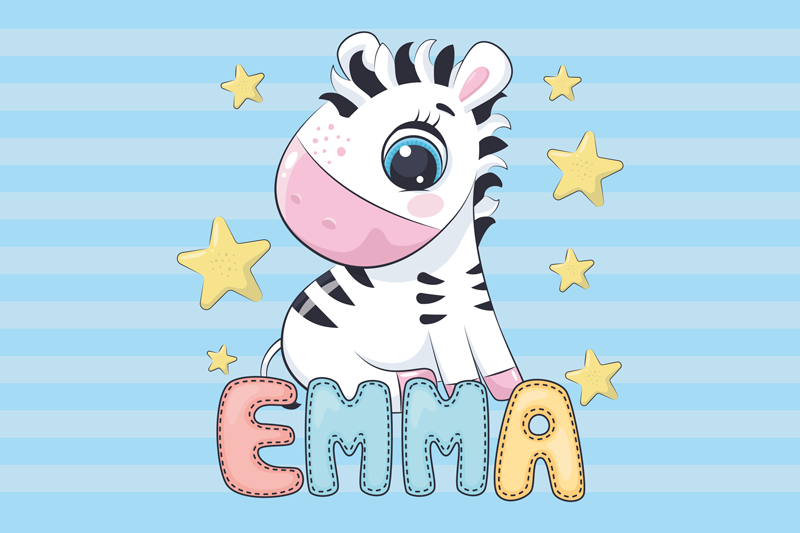TenStickers. Cute Zebra with name Personalised table mats. Kid table mat with the image of a cute zebra and a customizable name so that your child can feel identified while eating their food.