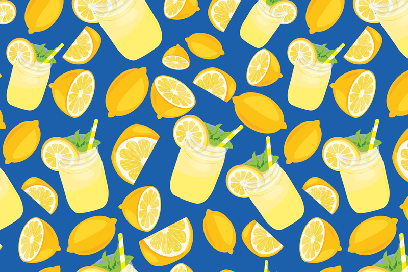 TenStickers. Lemonade and Lemons citrus table mat. Lemon placemat set which features a lovely pattern of lemons and glasses of lemonade on a dark blue background. Anti-bubble vinyl.
