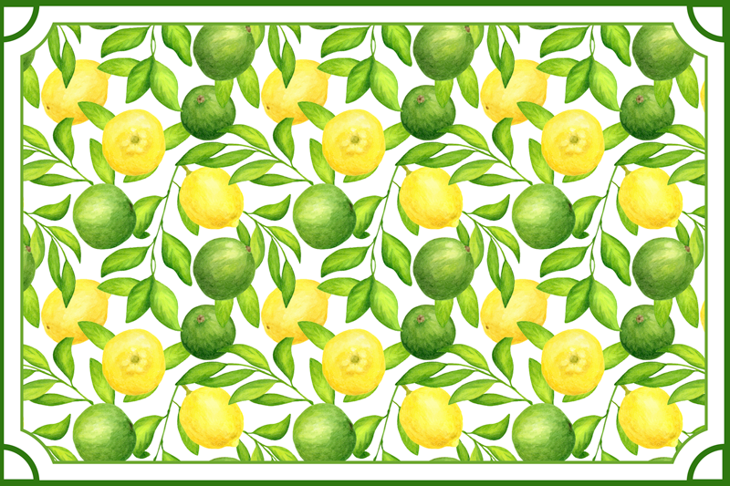 TenStickers. MANTEL Lemons and Limes frame citrus table mat. Green placemat with the design of many lemons and limes on a white background, ideal for you to decorate your table with style.