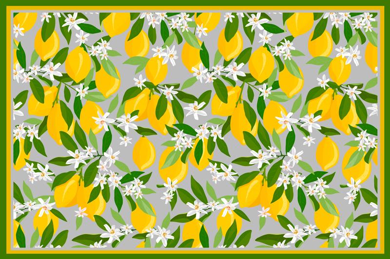 Tenstickers. Manteli sitruunapuu runko tekstuurinen pöytätabletti. Sitrushedelmämatto, jossa on monia kokonaisia sitruunoita, vihreät lehdet, ihanteellinen koristamaan pöytäsi iloisilla väreillä.