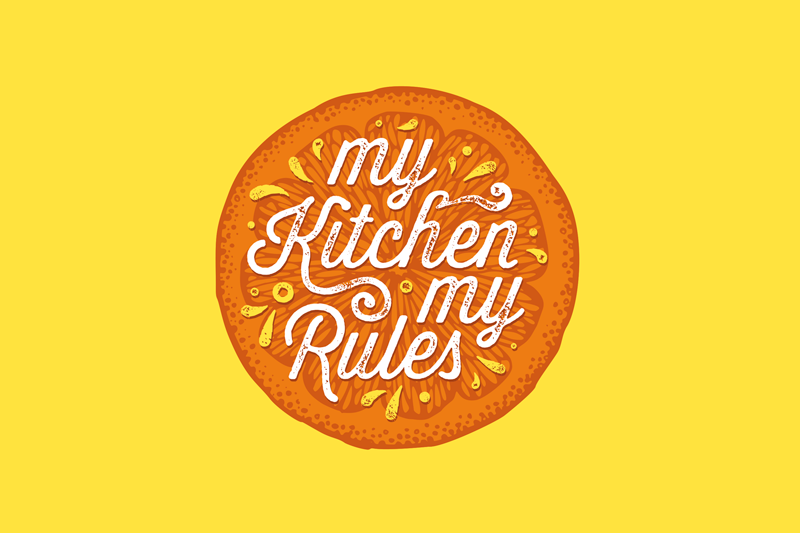 "TenStickers. MANTEL Orange hand draw kitchen quote vinyl placemats. Orange quote vinyl placemat design with the illustration of a half orange and the text ""My kitchen, my rules"" ideal for you to decorate your table."