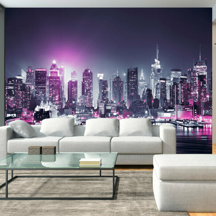 TenStickers. Nighttime New York Wall Mural. Bring the beauty of New York City at night into your home with this amazing nighttime New York wall mural.  Worldwide delivery available!