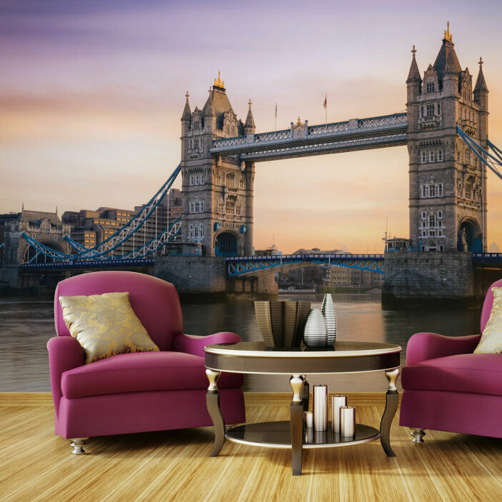 TenStickers. Tower Bridge London Wall Mural. There's nothing more beautiful than sunset over London, that's why we're providing you with this amazing Tower Bridge wall mural. Worldwide delivery!