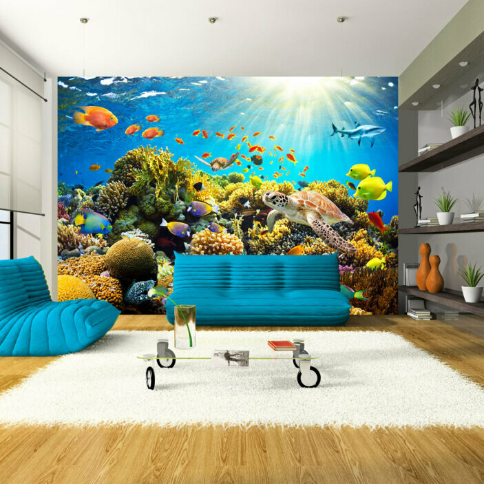 TenStickers. Underwater Wall Mural. Transform your home into a marine Wonderland in an instant with this incredible underwater wall mural. Worldwide delivery available!