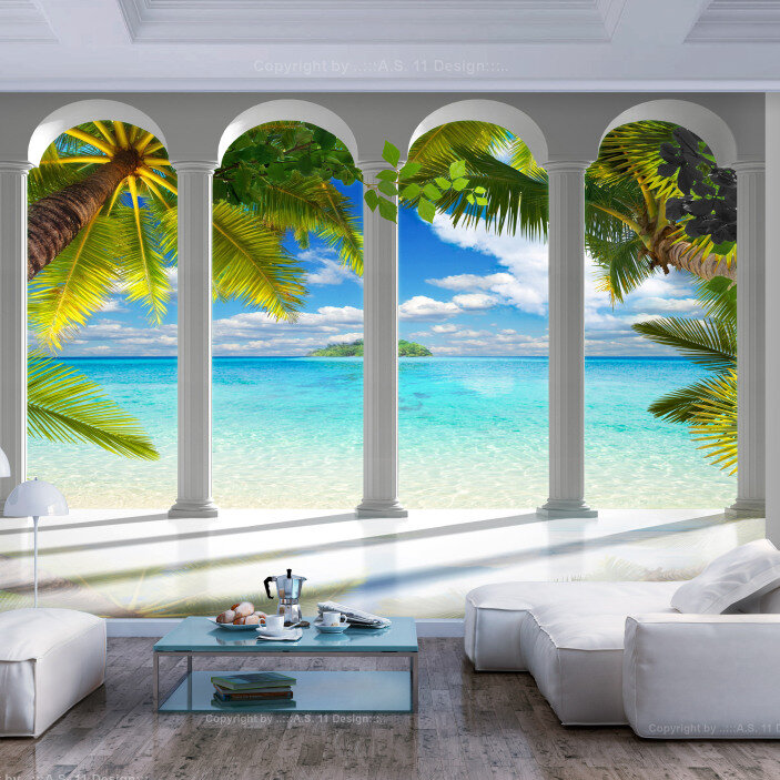 TenStickers. Beach Arches 3D Mural Wallpaper. Turn your living room into a tropical beach wonderland with this awesome beach wall mural. Worldwide delivery available now!