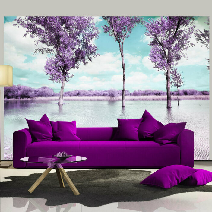 TenStickers. Pink Trees Nature Wall Mural. Bring the beauty and wonder of the outdoors into your living room with this amazing abstract pink landscape wall mural. Worldwide delivery!