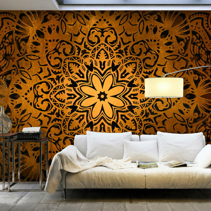 TenStickers. Golden Mandala Wall Mural. Turn your boring walls into a work of art with this amazingly beautiful golden mandala wall mural. Free worldwide delivery available!