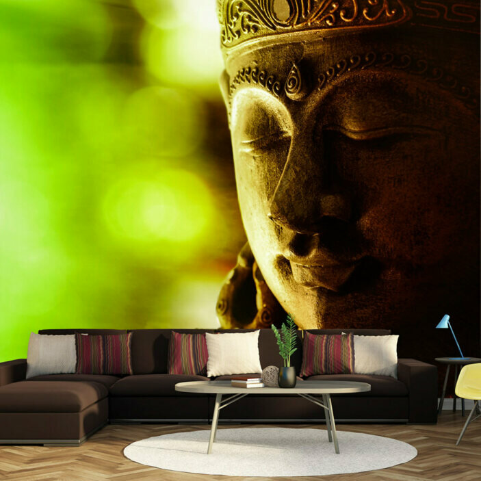 TenStickers. Buddha Face Wall Mural. Turn your boring and stressful living room into a place of zen with this epic buddha mural wallpaper. Worldwide delivery available!