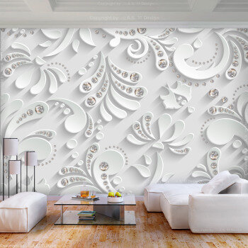 Foto mural 3d floral con relieve blanco