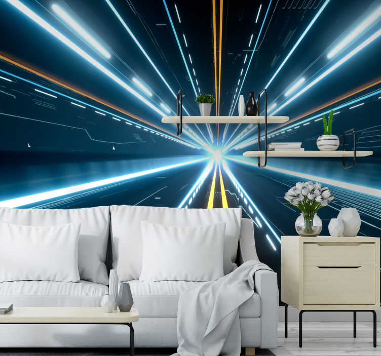 TenStickers. Futuristic Hallway 3D Mural Wallpaper. Open up a portal to another world with this fantastic abstract 3D mural wallpaper. Free worldwide delivery available now!
