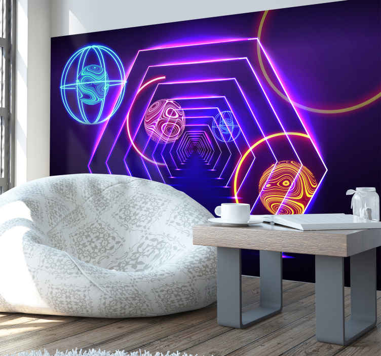 TenStickers. Balls in a tunel 3D Wall Mural. Looking for a unique, futuristic wall mural? Try this wall mural.  Colourful design, neon colours, this design will help you get the look you want!