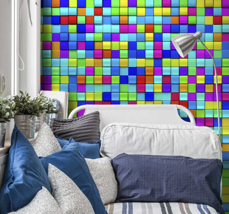 TenStickers. Colourful cubes 3D Wall Mural. Get your perfect abstract look with this abstract wall mural. A multitude of colourful cubes which will add some fun, colour and life to your wallls