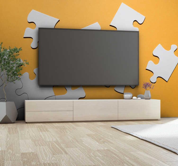 TenStickers. 拼图碎片3d壁画. 一个有趣的拼图碎片设计,散布在芥末黄色背景上,这幅抽象壁画非常适合任何家庭,商务或学校!