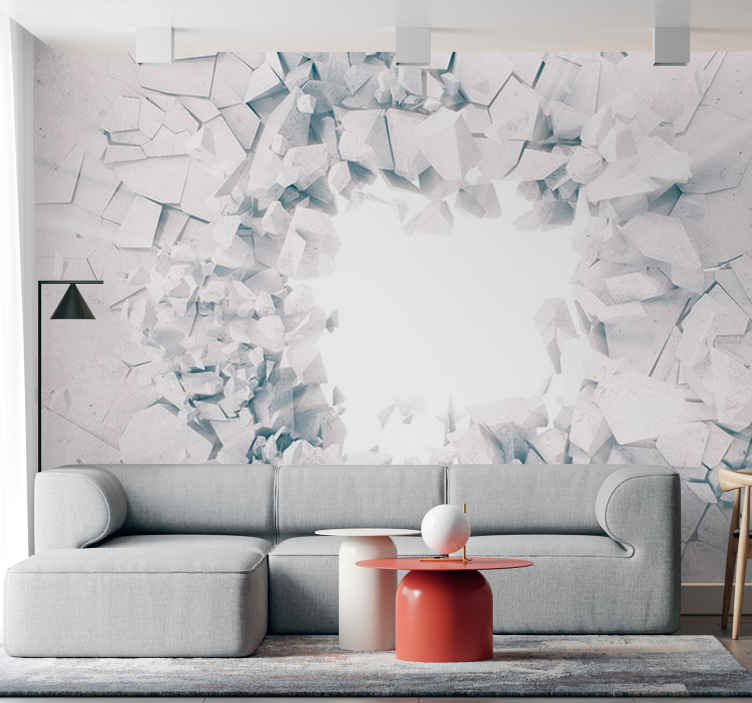TenStickers. Smashed effect 3D wall mural. Uh oh that looks like a lot of clean up...oh wait...oh wow it's a 3D wall mural. Check out this amazing design! Add a cool atomphere to your rooms