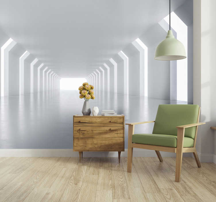 TenStickers. Into the light 3D Mural Wallpaper. Where does it go? What is the light? Does it ever end? If you love a bit of mystery then this 3D effect wall mural is what you've been looking for