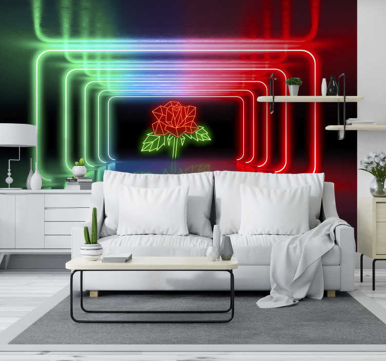 TenStickers. Neon Rose 3D Mural Wallpaper. This neon 3D effect wall mural will catch the eyes of your guests. If you want to create a bold atmosphere in your home then do it with this design!