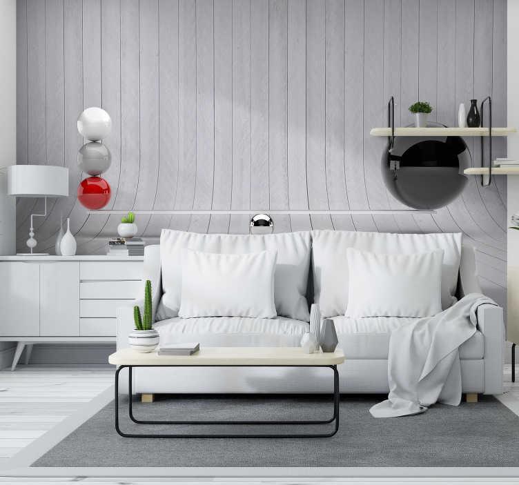TenStickers. Fotomurais 3D Balanço. Sublime fotomural vinilico texturas e padrões de faixas cinzentas a imitar madeira perfeito para decorar a sua sala de estar/jantar ou quarto.