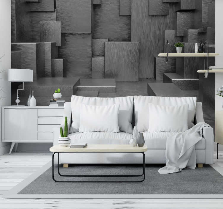 TenStickers. Grey cubes 3D Wall Mural. incredible photomural of cubes blooming in your room A 3D visual effect that will not only give depth to your space and colour to your walls.