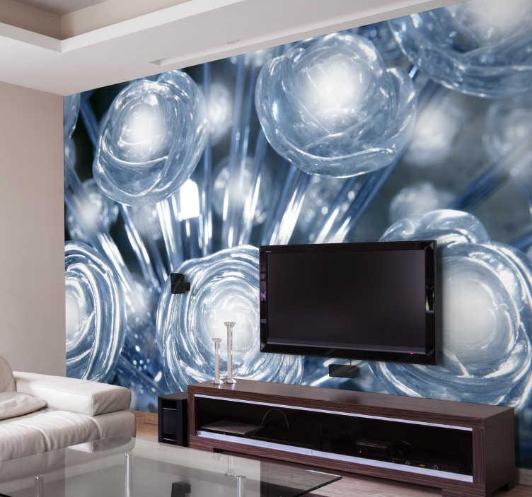 TenStickers. Fotobehang 3d wit en blauwe kristallen. Interessant wit bloemen behang gemaakt van 3d effect behangpapier. Geniet van 3d bloemen behang en pimp uw kale muren op met wit bloem behang.