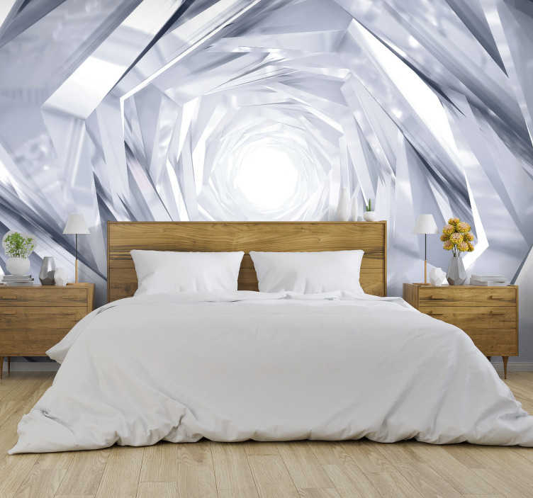 TenStickers. White 3D Mural Wallpaper. It's time for you and your home to join the 21st century with this amazing white 3D wall mural. Worldwide delivery available!