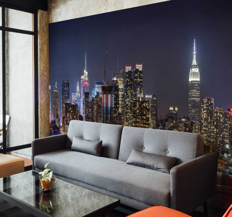 TenVinilo. Fotomural nueva york de noche. Fotomural de Nueva York de noche. Una imagen estupenda para decorar las paredes de tu hogar con esta majestuosa ciudad, la ciudad que nunca duerme.