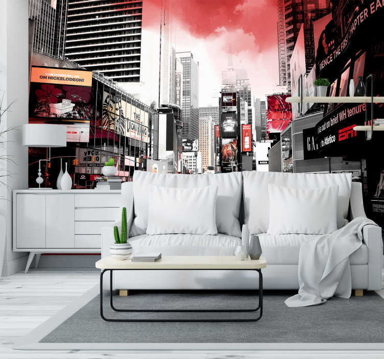 TenStickers. New York red and white skyline wall mural. New York photo mural white and red, a beautiful color combination that creates a special design of the city that never sleeps.