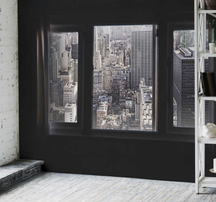 TenStickers. Window view new york skyline wall mural. Terrace photo mural in New York. A beautiful design that will give spaciousness to your home while simulating an extension of your living room.