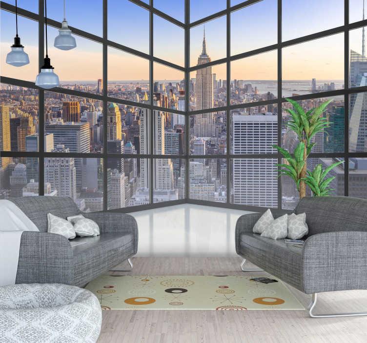 TenVinilo. Fotomural vistas NY 3D. Fotomural 3D de vistas a New York a través de una ventana en forma de arco. Un diseño elegante para las paredes de tu hogar.