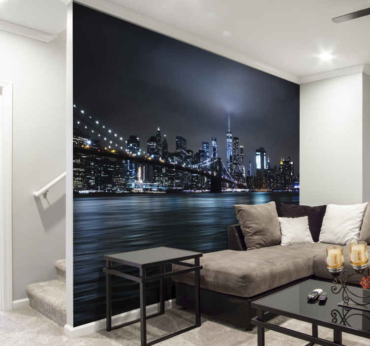 TenStickers. Night skyline new york skyline wall mural. A beautiful photo mural of New York at night that shows the port of this magnificent city and the illuminated buildings, a great image for your home.